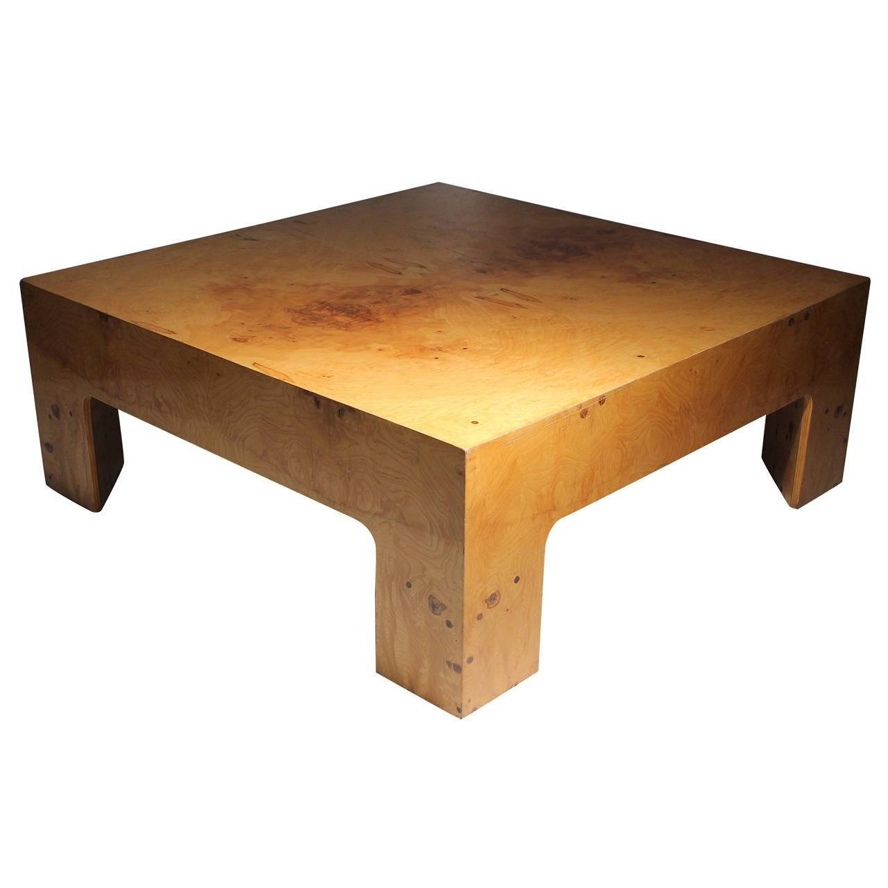 Vintage Burl Coffee Table Attributed To Milo Baughman For Sale At intended for Coffee Tables With Rounded Corners (Image 25 of 30)