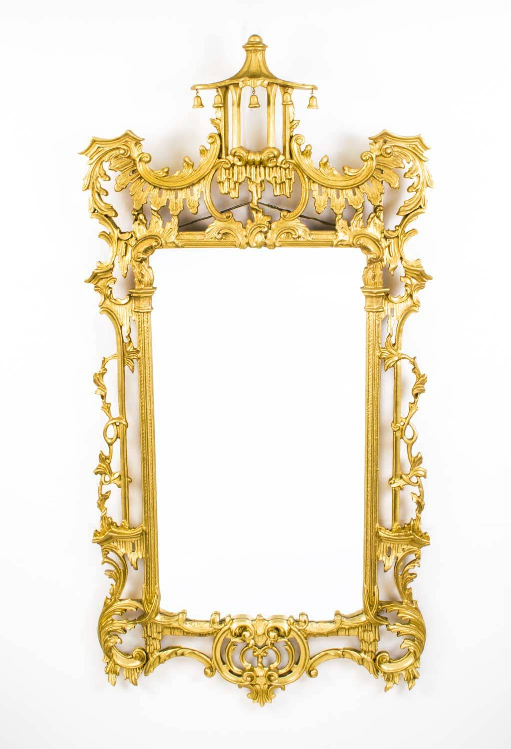 Vintage Chinese Chippendale Giltwood Mirror in Chinese Mirrors (Image 25 of 25)