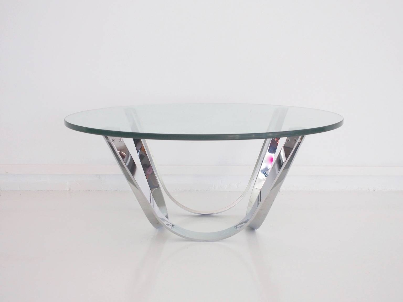 Vintage Chrome And Glass Coffee Tableroger Sprunger For Dunbar with Chrome and Glass Coffee Tables (Image 26 of 30)