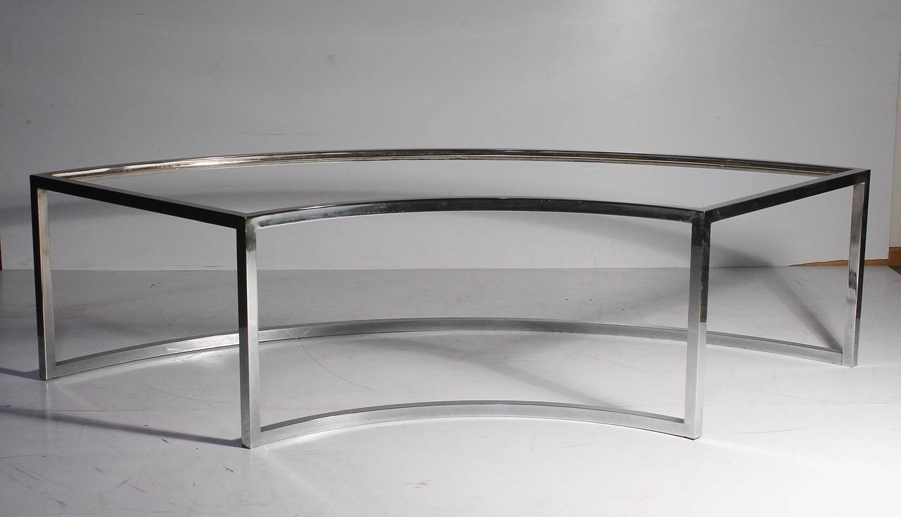 Vintage Chrome Curved Coffee Table Attributed To Milo Baughman For Pertaining To Curve Coffee Tables (View 28 of 30)