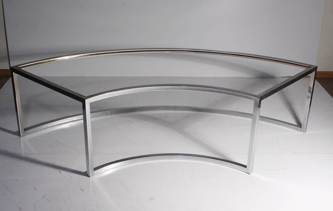 Vintage Chrome Curved Coffee Table Attributed To Milo Baughman For Regarding Curve Coffee Tables (View 29 of 30)