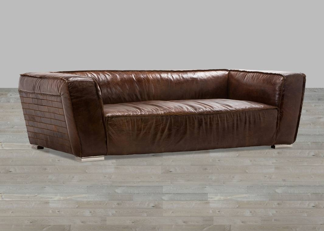 Vintage Cigar Brown Leather Sofa inside Vintage Leather Sofa Beds (Image 21 of 30)