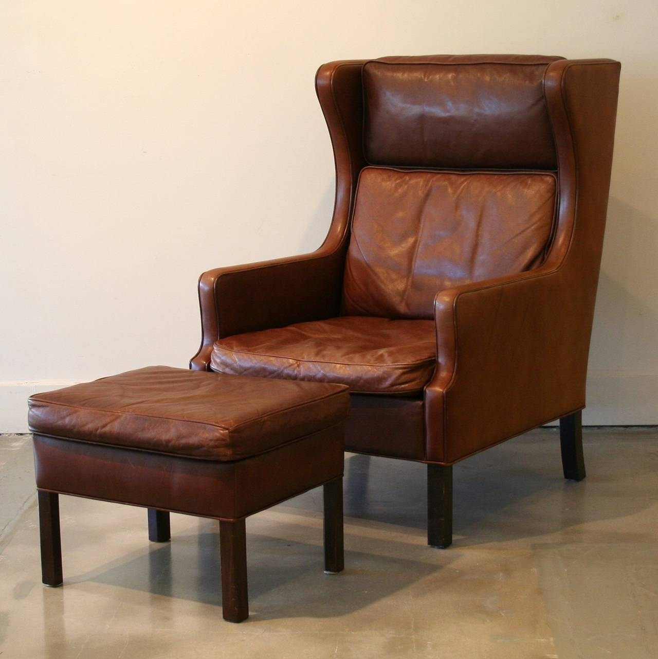 Vintage Danish Brown Leather Armchair And Ottoman At 1Stdibs in Vintage Leather Armchairs (Image 17 of 30)