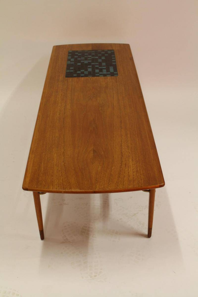 Vintage Danish Teak Coffee Table With Ceramic Tiles And Leather within Coffee Tables With Magazine Rack (Image 29 of 30)