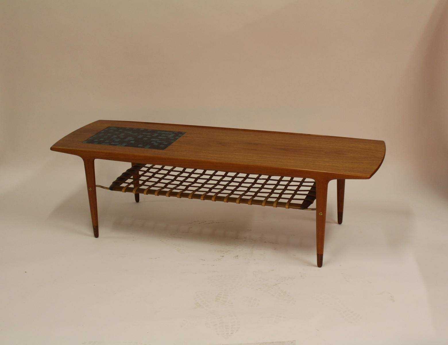 Vintage Danish Teak Coffee Table With Ceramic Tiles And Leather within Coffee Tables With Magazine Rack (Image 28 of 30)