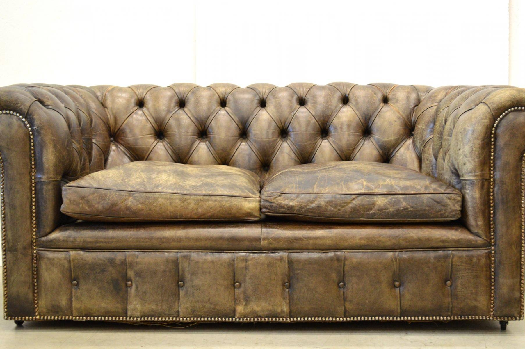 Vintage English Dark Brown Leather Chesterfield Two-Seater Sofa with Vintage Chesterfield Sofas (Image 24 of 30)