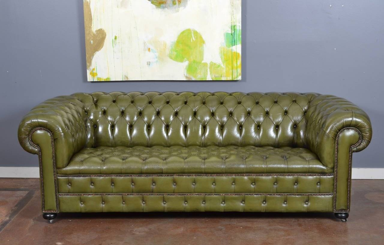 Vintage English Olive Green Leather Chesterfield Sofa At 1Stdibs pertaining to Vintage Chesterfield Sofas (Image 25 of 30)