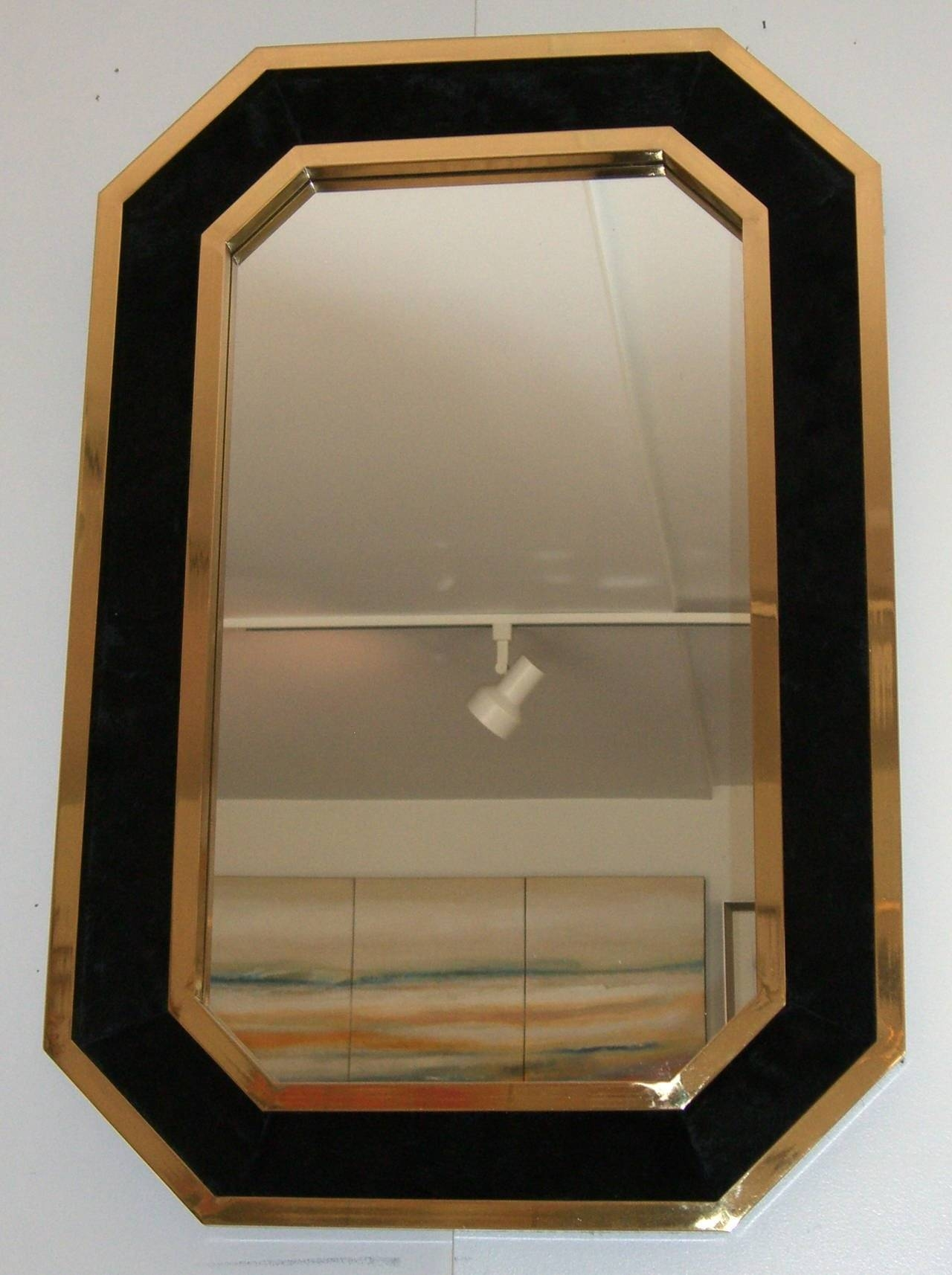 Vintage French Black Cowhide And Brass Framed Wall Mirror At 1Stdibs intended for Vintage Wall Mirrors (Image 18 of 25)