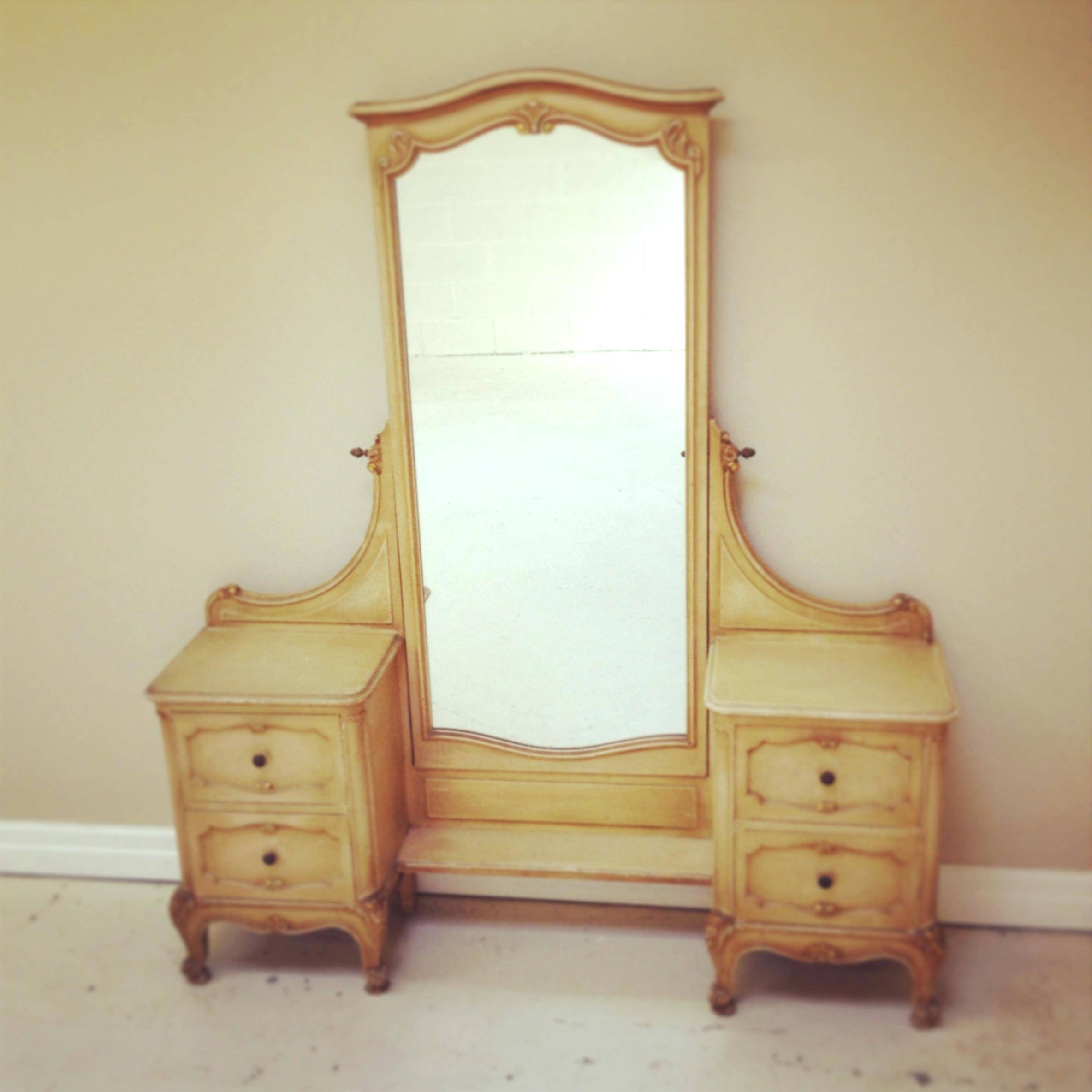 Vintage French Dressing Table Long Mirrorlarge Mirror On Stand within Vintage Full Length Mirrors (Image 22 of 25)