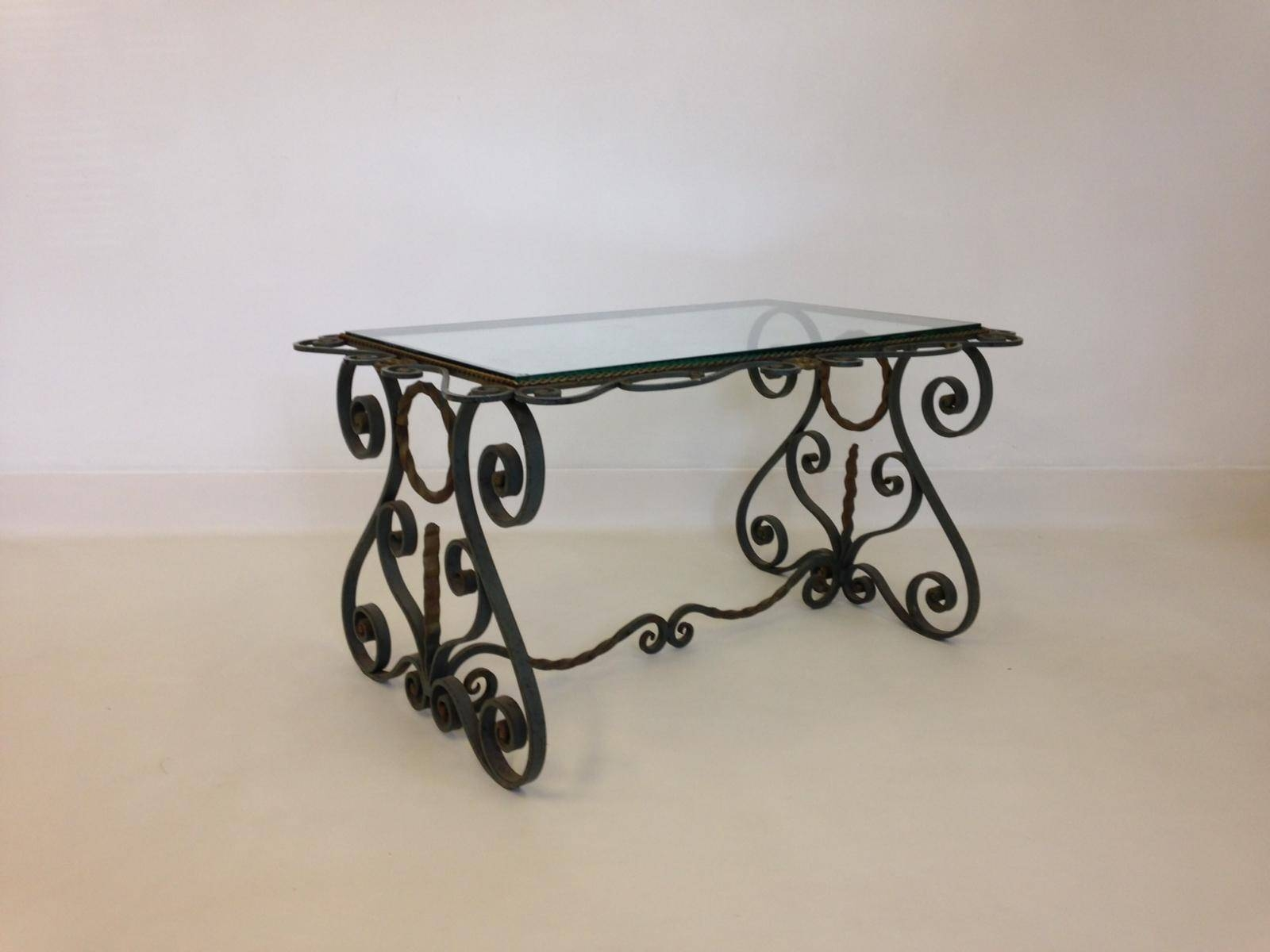 Vintage French Wrought Iron Coffee Table For Sale At Pamono within Wrought Iron Coffee Tables (Image 14 of 30)