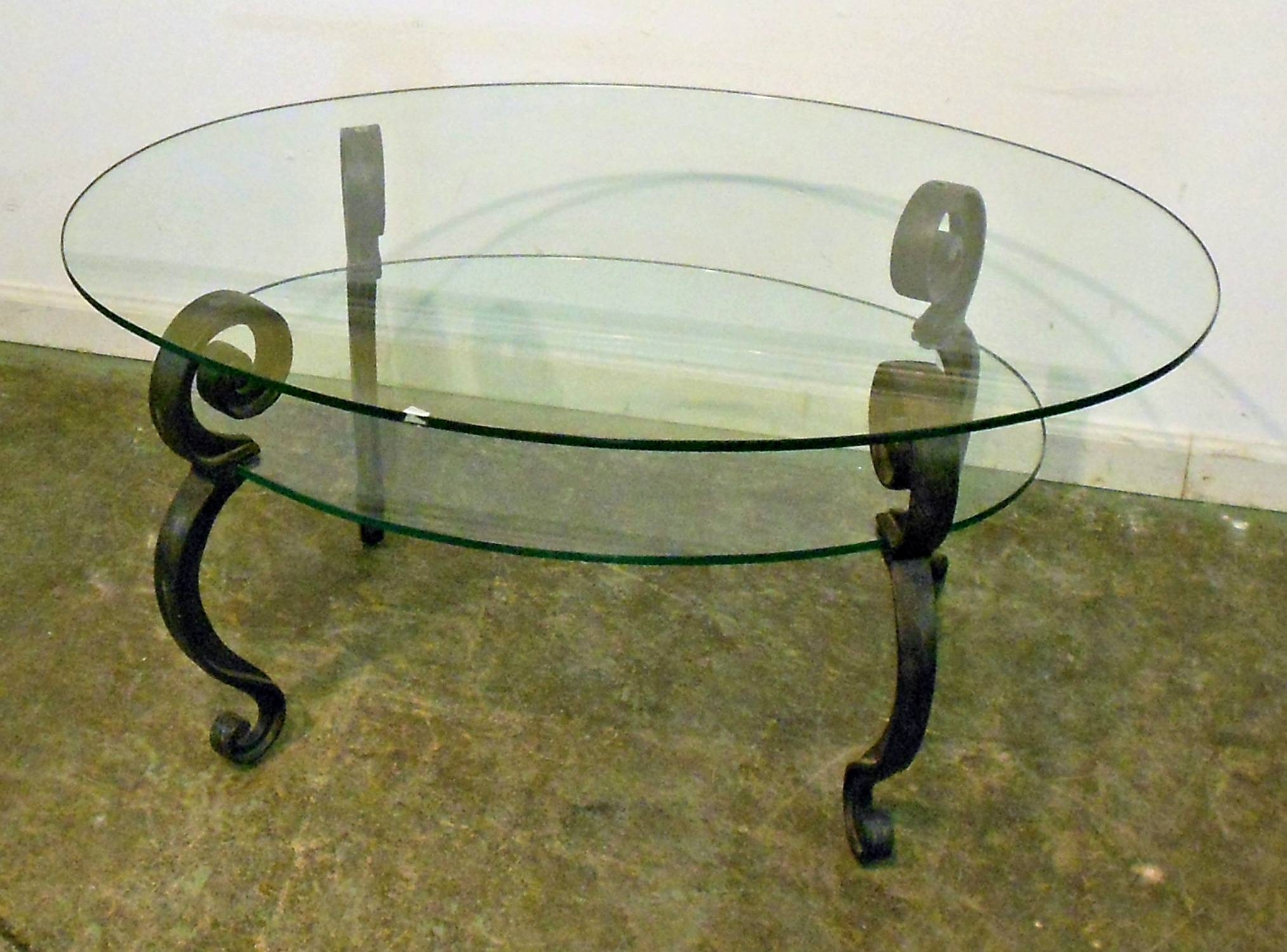 Vintage Glass Top Coffee Table With Black Metal Legs And Shelves regarding Vintage Glass Top Coffee Tables (Image 20 of 30)