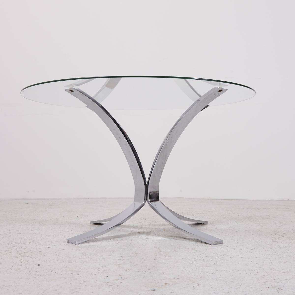 Vintage Glass Top Coffee Table With Chrome Plated Base For Sale At for Vintage Glass Top Coffee Tables (Image 21 of 30)
