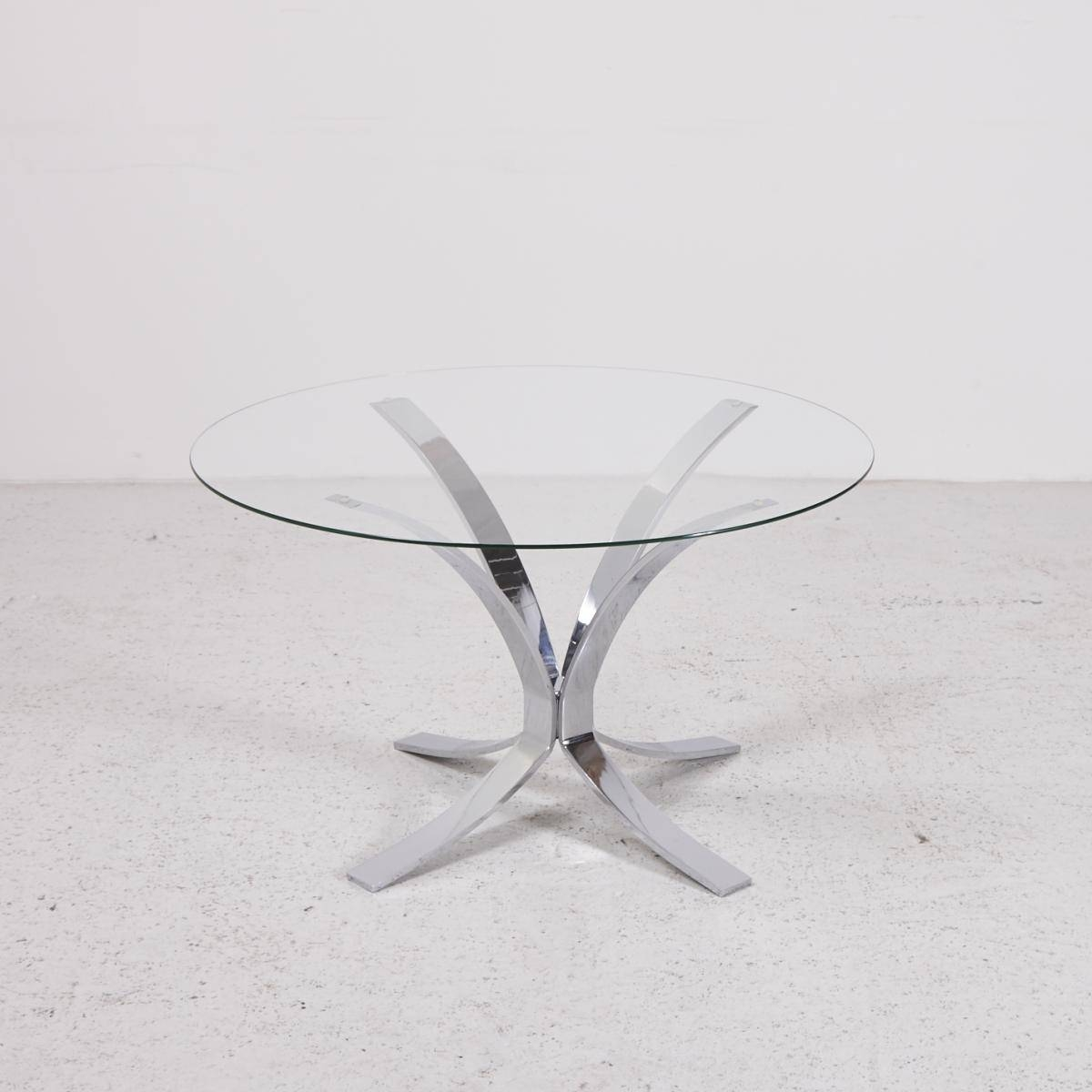 Vintage Glass Top Coffee Table With Chrome Plated Base For Sale At within Vintage Glass Top Coffee Tables (Image 24 of 30)