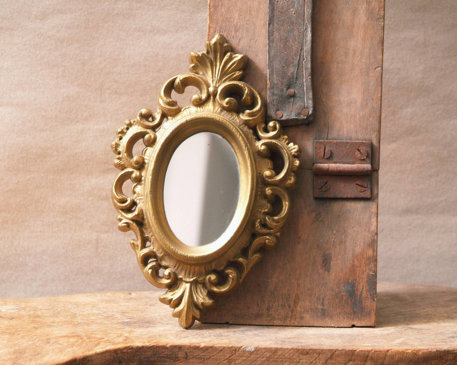 Vintage Gold Framed Mirror Small Oval Mirror Ornate Gold for Gold Ornate Mirrors (Image 23 of 25)