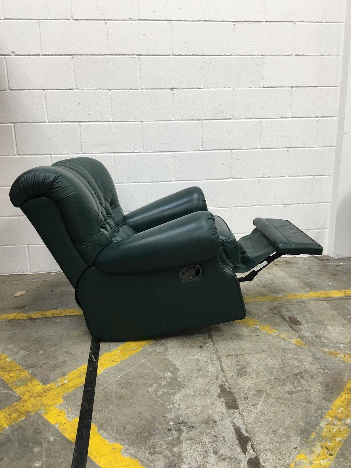 Vintage Green Leather Chesterfield Recliner Chair - Aherns Furniture inside Chesterfield Recliners (Image 28 of 30)