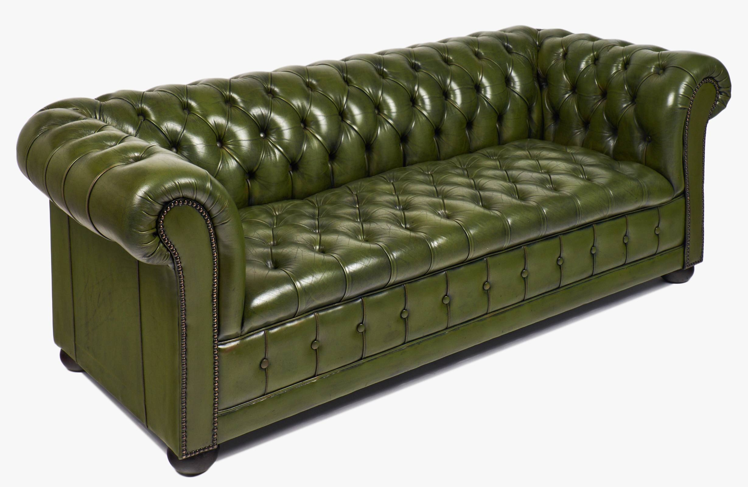 Vintage Green Leather Chesterfield Sofa - Jean Marc Fray intended for Vintage Chesterfield Sofas (Image 26 of 30)