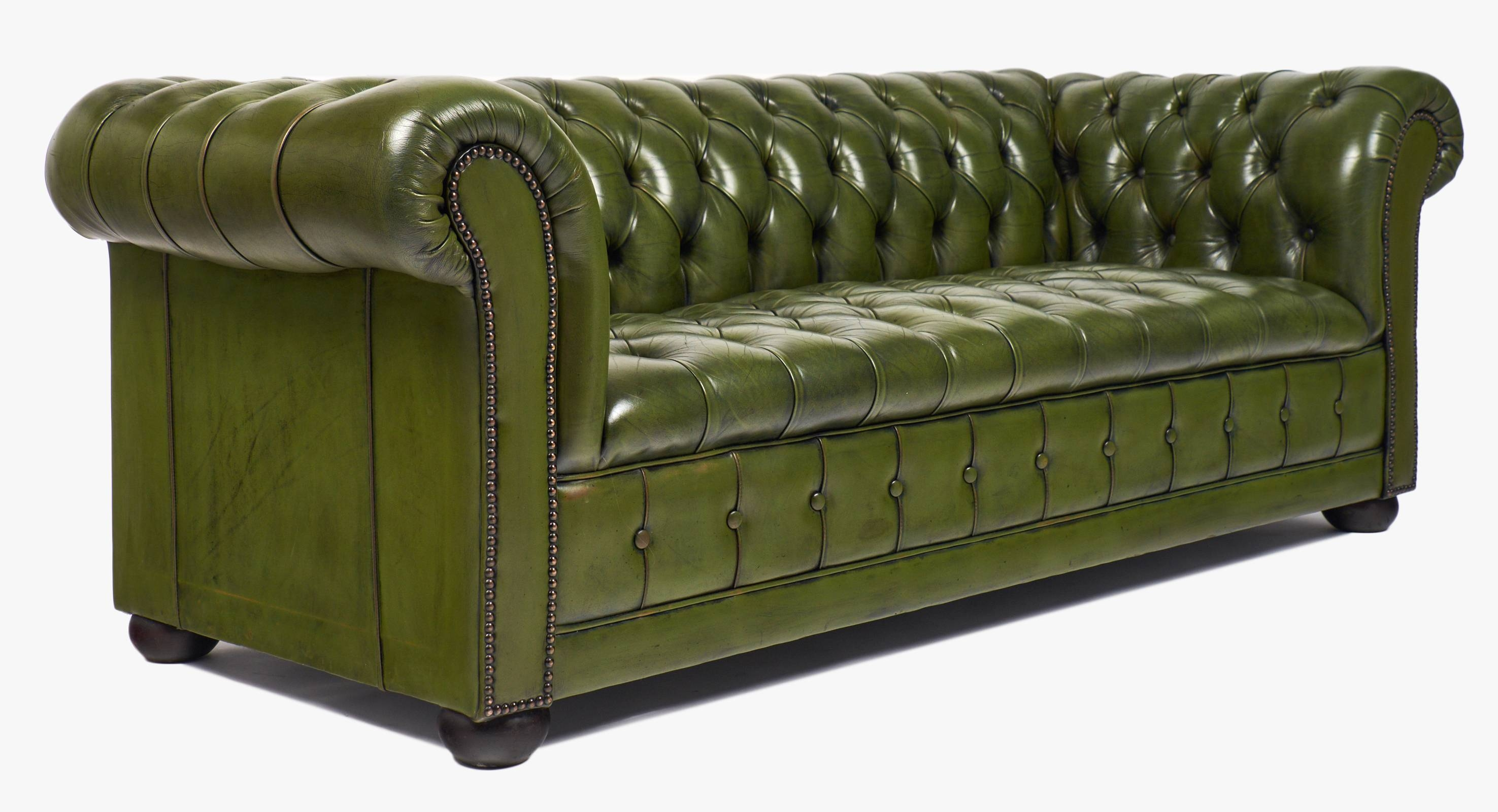 Vintage Green Leather Chesterfield Sofa - Jean Marc Fray with Vintage Chesterfield Sofas (Image 27 of 30)