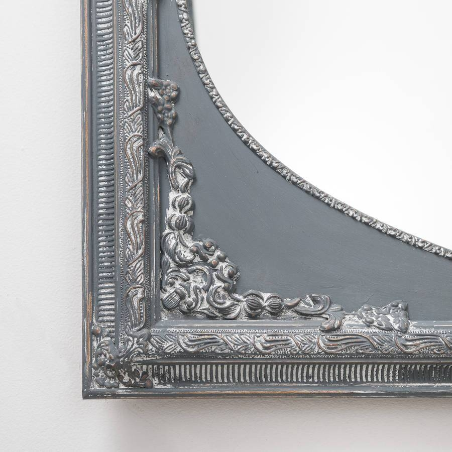 Vintage Grey Ornate Dutch Oval Mirror Largehand Crafted regarding Grey Vintage Mirrors (Image 21 of 25)