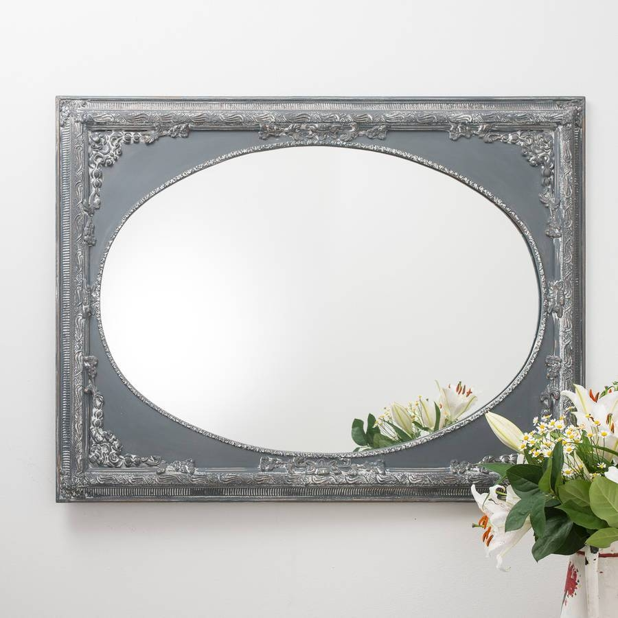 Vintage Grey Ornate Dutch Oval Mirror Largehand Crafted within Grey Vintage Mirrors (Image 22 of 25)