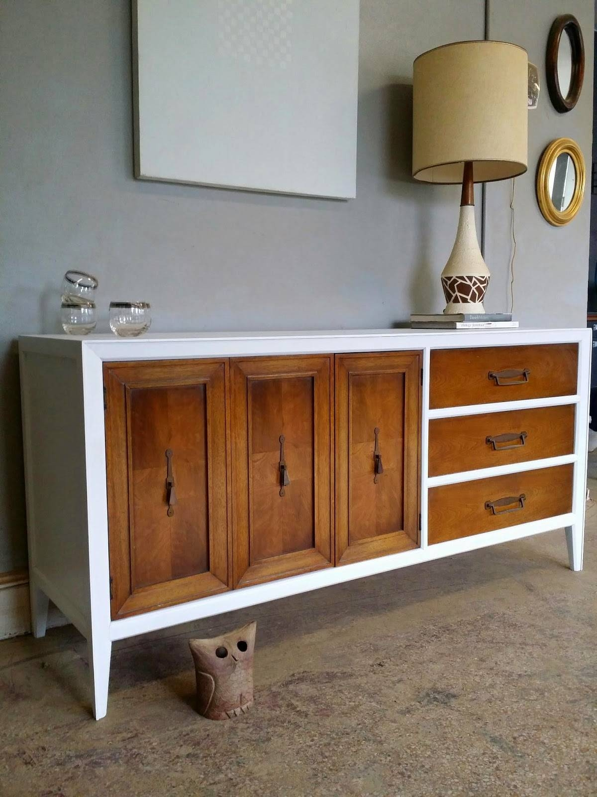 Vintage Ground: Mid Century White / Wood Credenza Media Console Buffet inside White And Wood Sideboards (Image 29 of 30)
