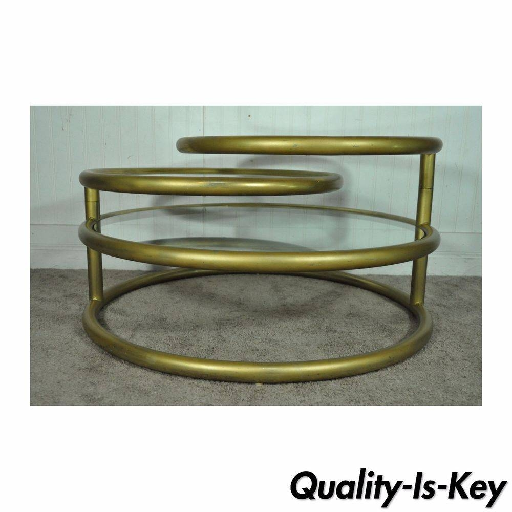 Vintage Hollywood Regency 3 Tier Round Swivel Coffee Table Mid pertaining to Swivel Coffee Tables (Image 30 of 30)