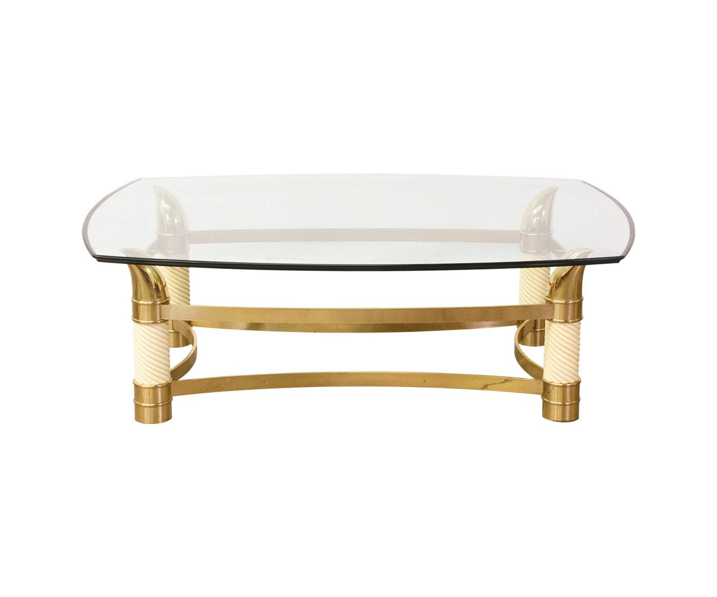Vintage Italian Brass Horn Coffee Table W/ Glass Top | Danish throughout Vintage Glass Top Coffee Tables (Image 28 of 30)