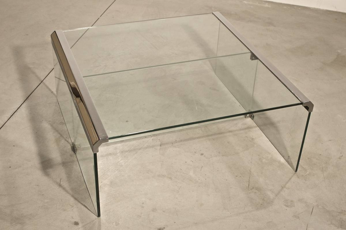 Vintage Italian Chrome And Glass Coffee Table For Sale At Pamono intended for Vintage Glass Coffee Tables (Image 22 of 30)