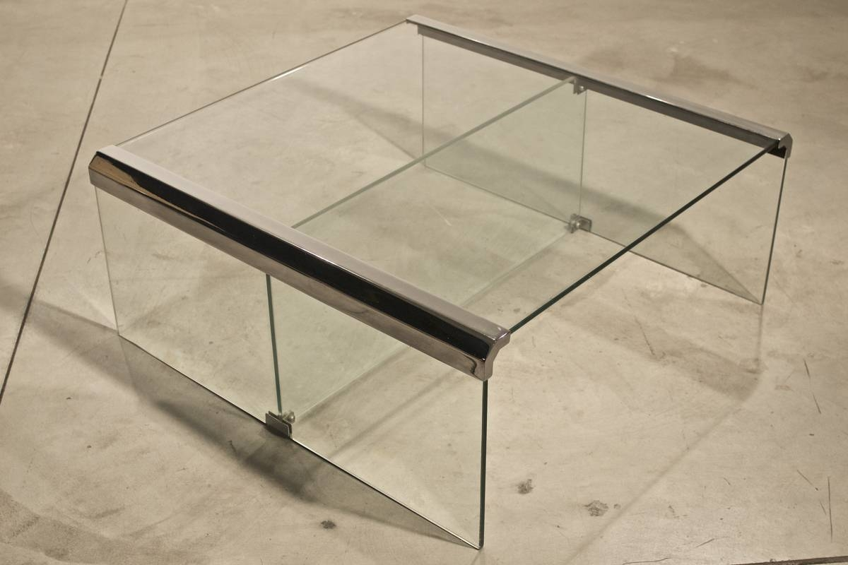 Vintage Italian Chrome And Glass Coffee Table For Sale At Pamono with Chrome and Glass Coffee Tables (Image 28 of 30)