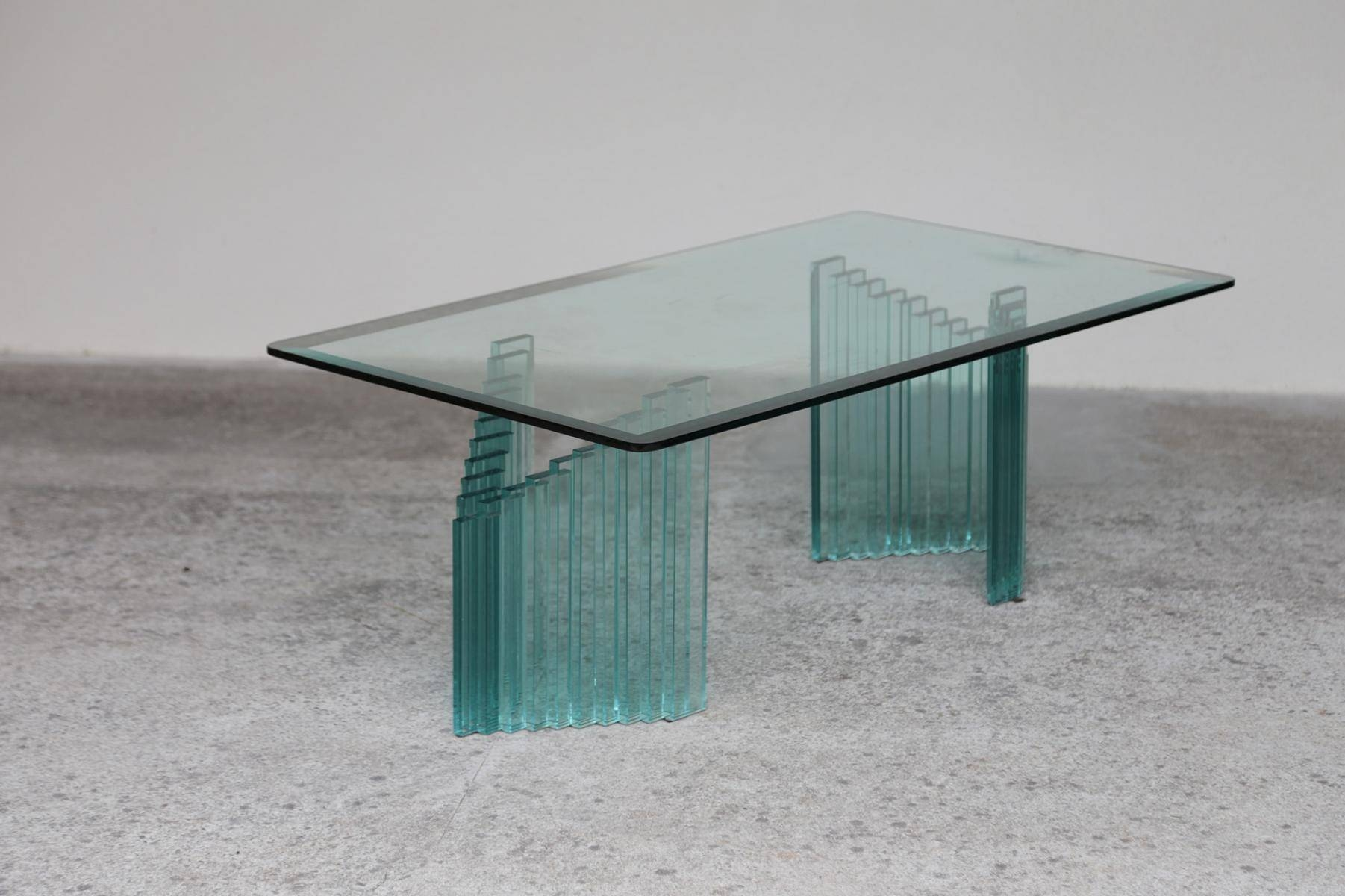 Vintage Italian Coffee Table In Glass For Sale At Pamono with regard to All Glass Coffee Tables (Image 28 of 30)