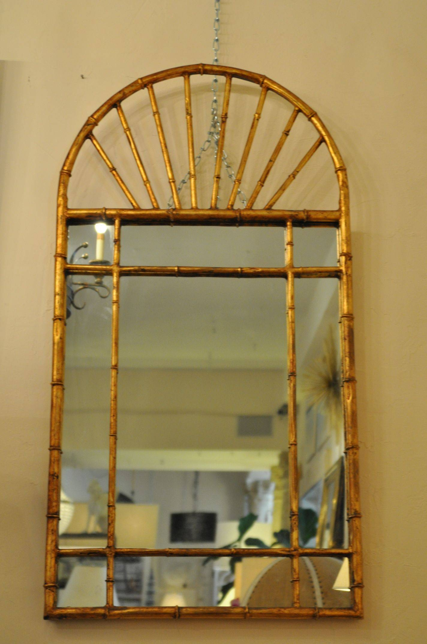 Vintage Italian Faux Bamboo Mirrors - Mecox Gardens for Gold Arch Mirrors (Image 25 of 25)