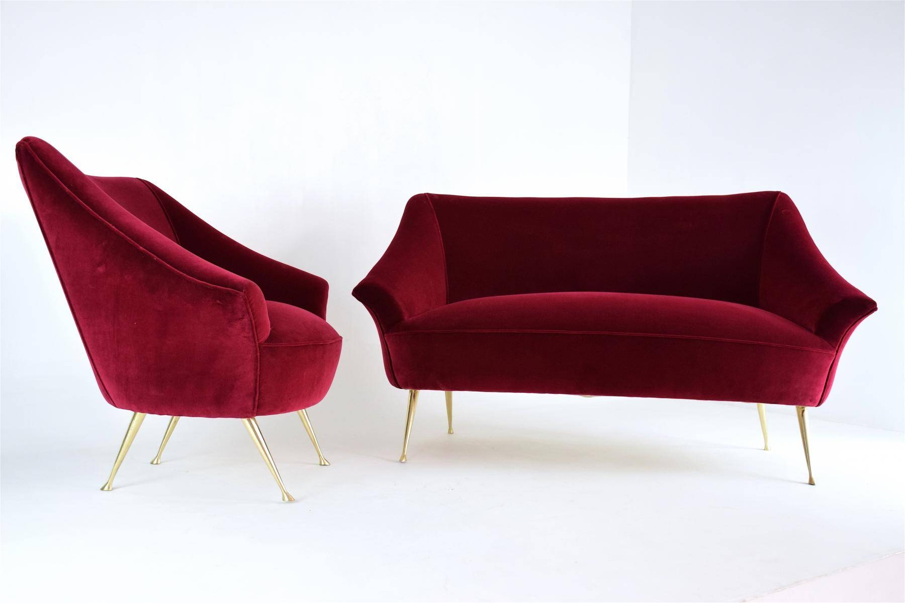 Vintage Italian Red Two-Seater Sofa And Armchair Set, 1950S, Set with regard to Two Seater Chairs (Image 26 of 30)