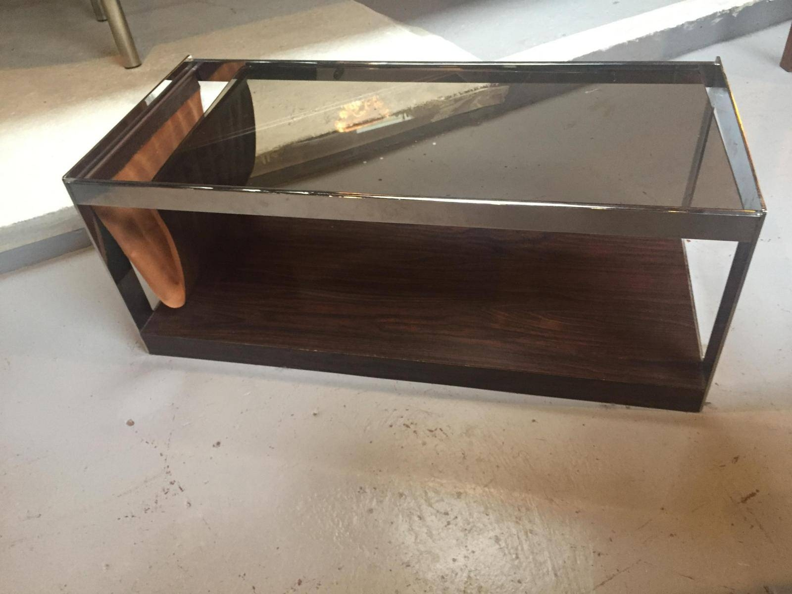 Vintage Italian Smoked Glass Coffee Table For Sale At Pamono Regarding Retro Smoked Glass Coffee Tables (View 10 of 30)
