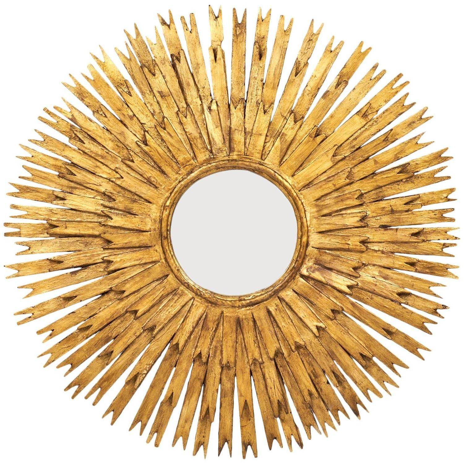 Vintage Large Gold Leaf Sunburst Mirror - Jean Marc Fray within Large Sunburst Mirrors (Image 25 of 25)