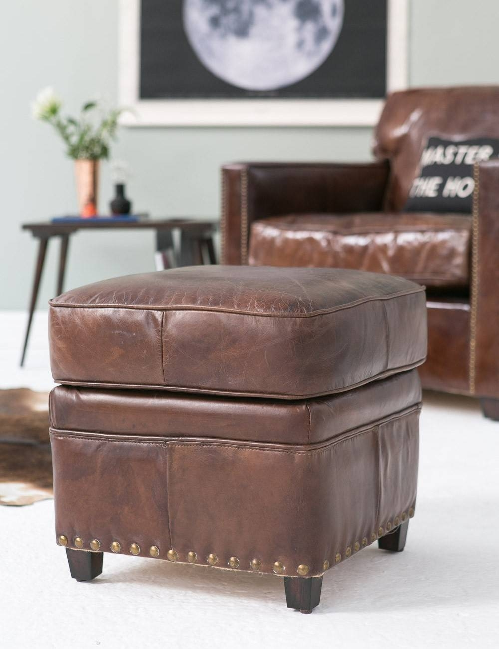 Vintage Leather Footstool | Rose & Grey with Leather Footstools (Image 30 of 30)