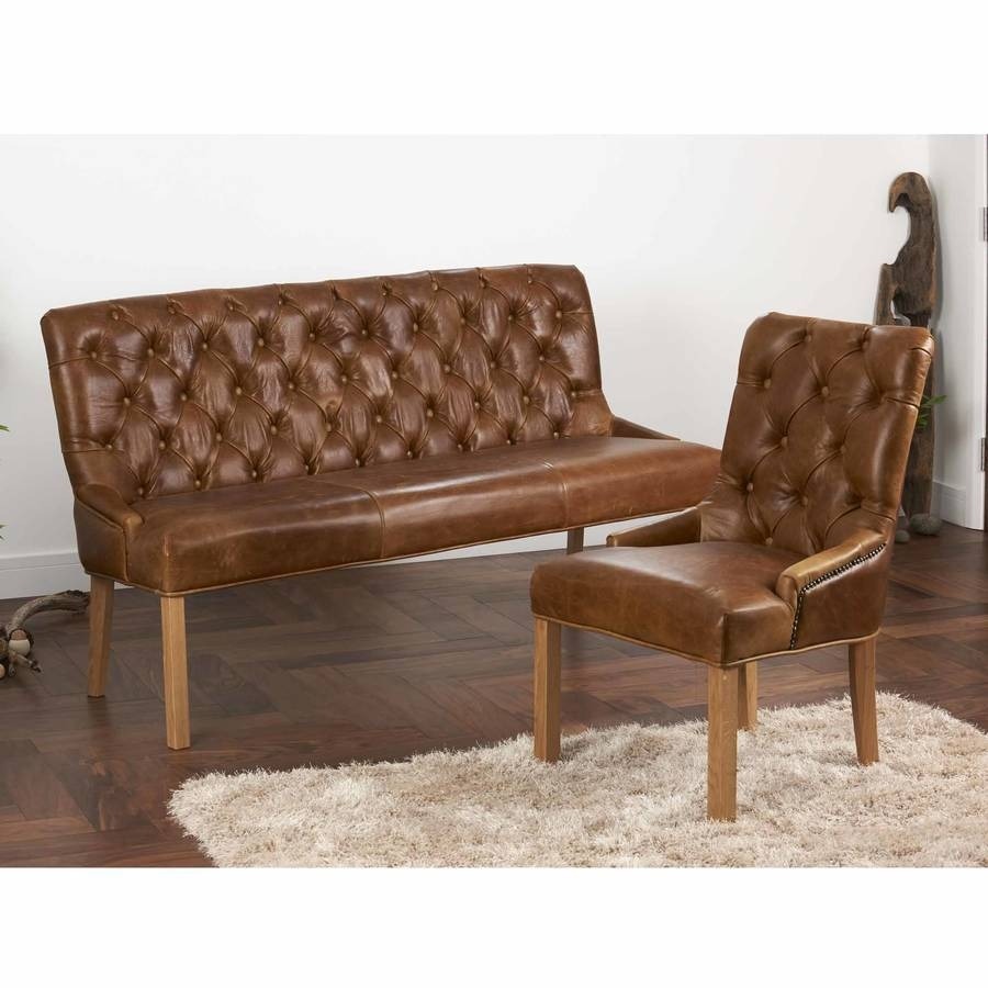 Vintage Leather Or Harris Tweed Buttoned Sofa Benchthe Orchard in Leather Bench Sofas (Image 27 of 30)