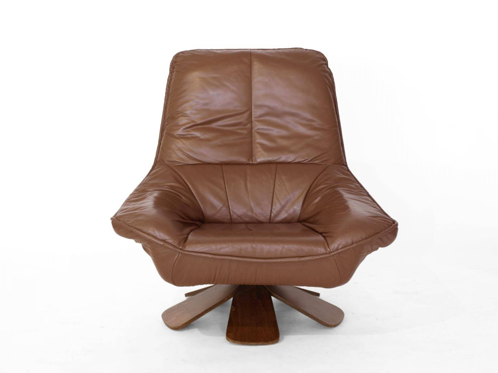Vintage Leather Swivel Chair With Ottoman For Sale At Pamono for Vintage Leather Armchairs (Image 24 of 30)