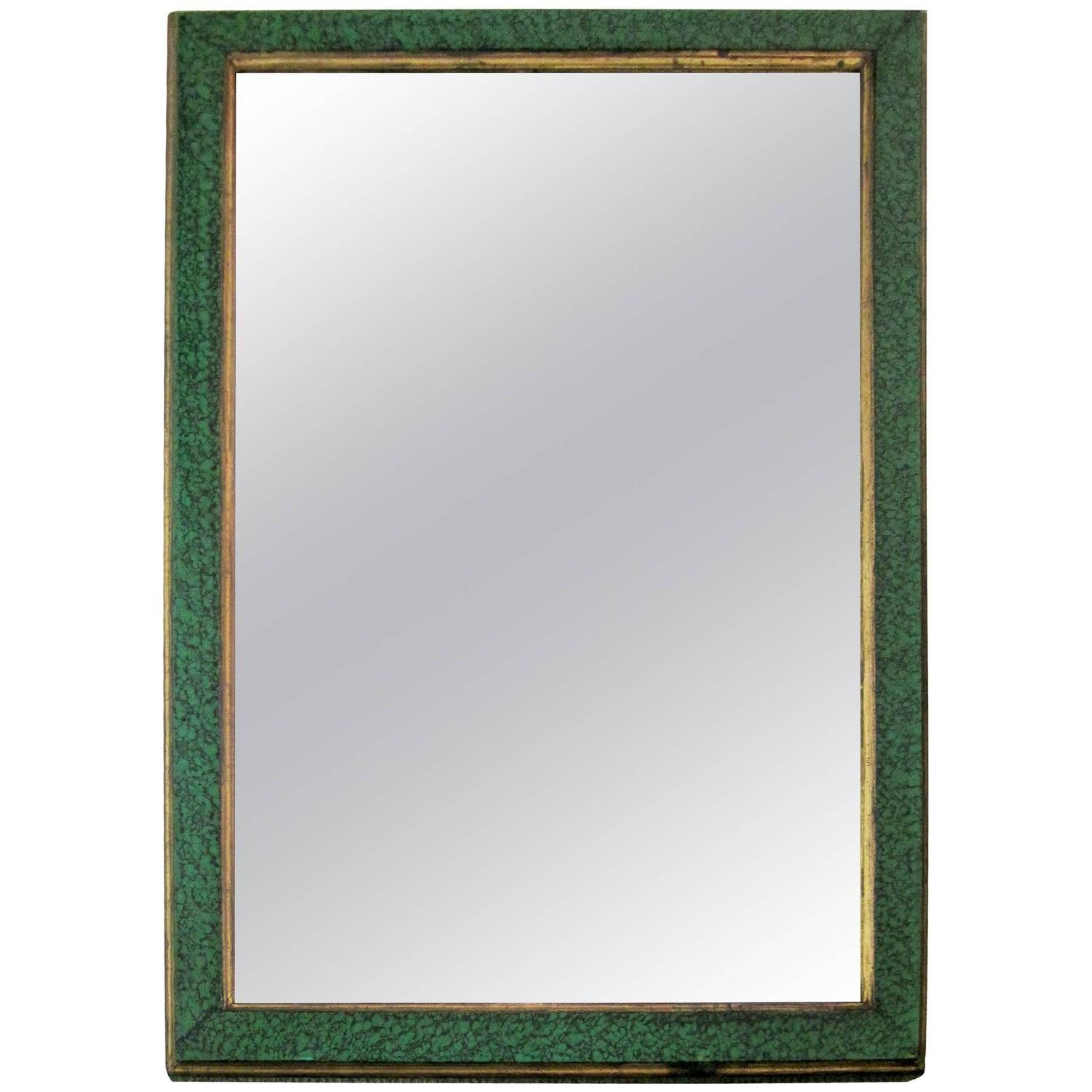Vintage Malachite Green Style Lacquer And Gilt Wall Mirror For inside Gilt Edged Mirrors (Image 25 of 25)