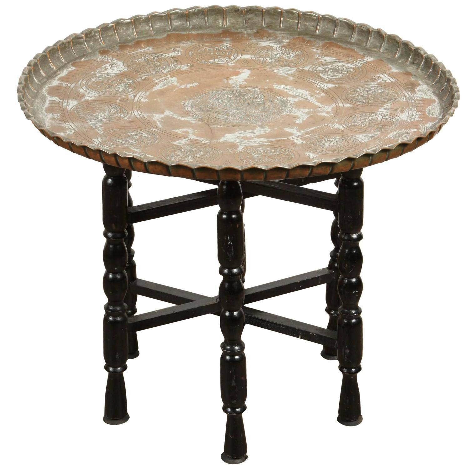 Vintage Middle Eastern Etched Round Copper Tray Table At 1Stdibs pertaining to Round Tray Coffee Tables (Image 29 of 30)