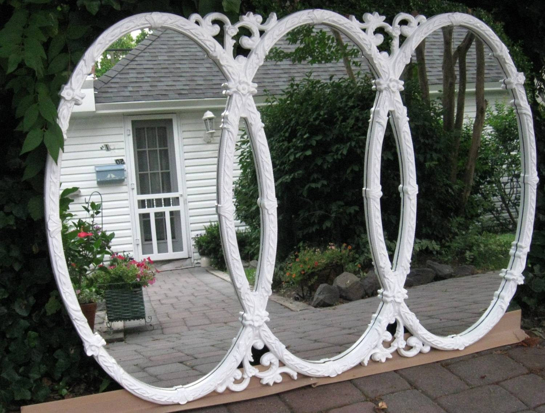 Vintage Mirror Triple Ornate Oval 60's Largebytheshorevintage with regard to Triple Oval Mirrors (Image 25 of 25)