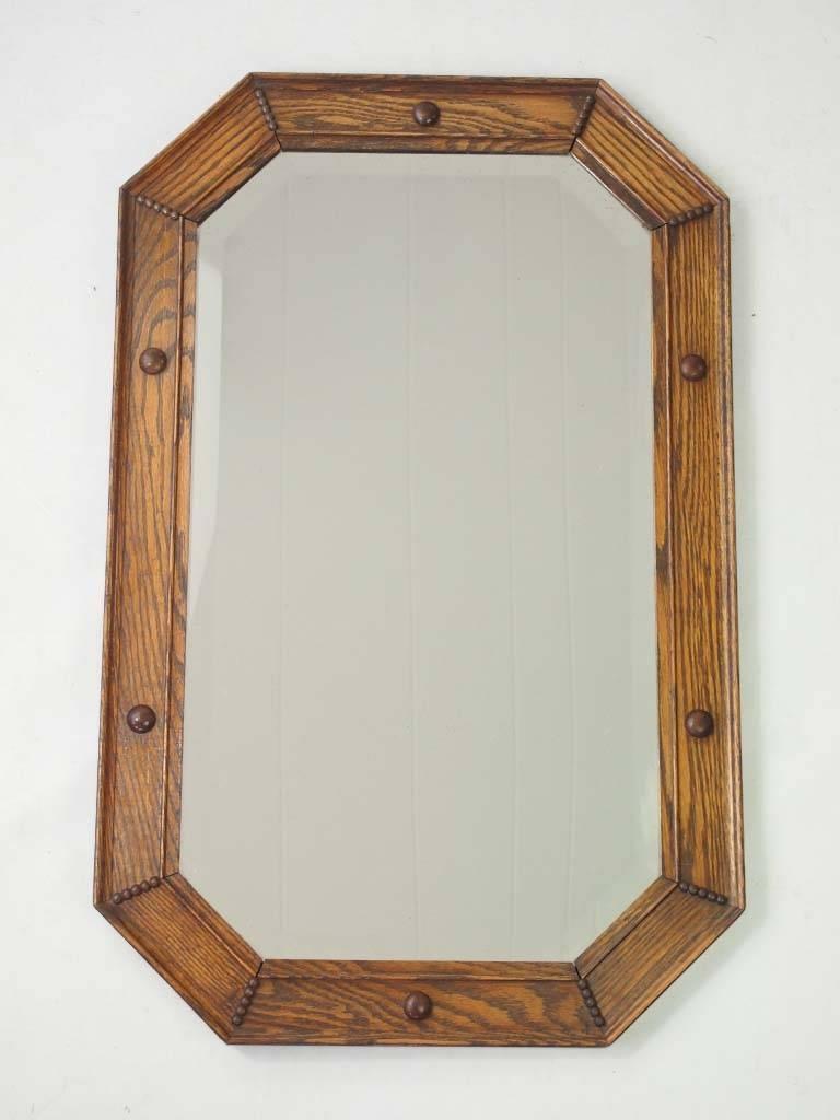 Vintage Oak Framed Mirror / Overmantle - - regarding Vintage Overmantle Mirrors (Image 25 of 25)