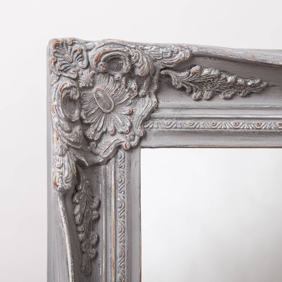 Vintage Ornate Grey Large Mirrorhand Crafted Mirrors Pertaining To Big Vintage Mirrors (View 25 of 25)