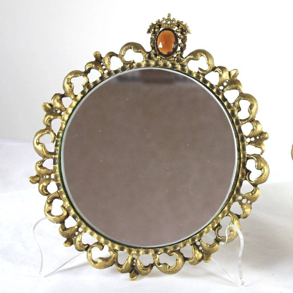 Vintage Pair Of Round Gilt Framed Mirrors With Jewels, Hollywood throughout Gilt Framed Mirrors (Image 24 of 25)
