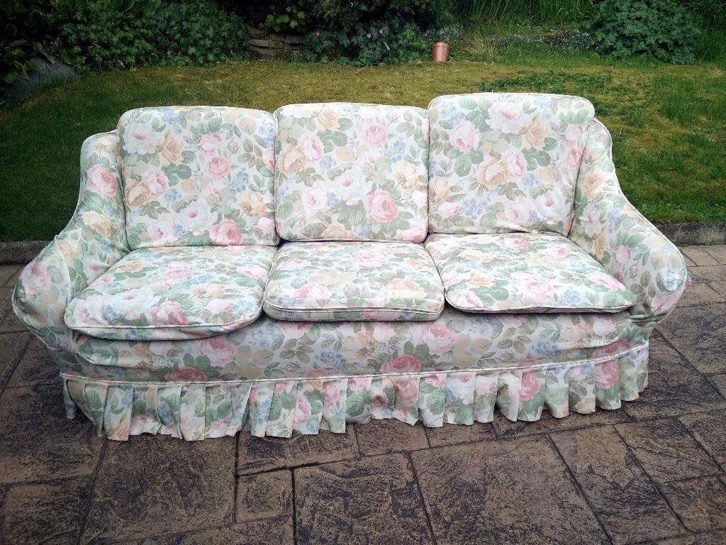 Vintage Retro 3-Seater Sofa In Chintz Floral Fabric | In Marple for Chintz Floral Sofas (Image 30 of 30)