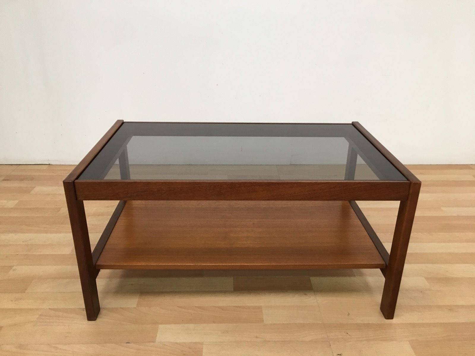 Vintage Retro Mid Century 60 S 70 S Teak Rectangular Smoked Glass With Retro Smoked Glass Coffee Tables (View 21 of 30)