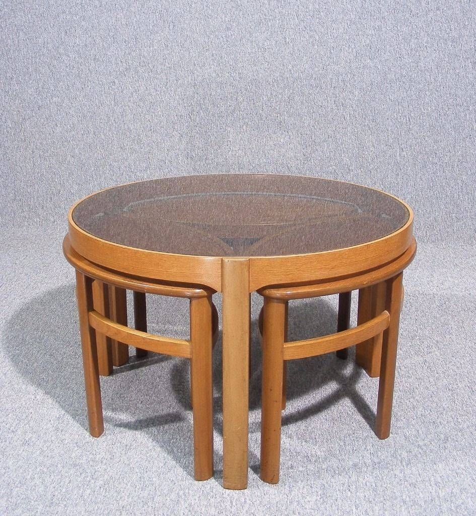 Vintage Retro Teak Glass Top Nathan Petal Nesting Coffee Tables pertaining to Retro Glass Top Coffee Tables (Image 29 of 30)