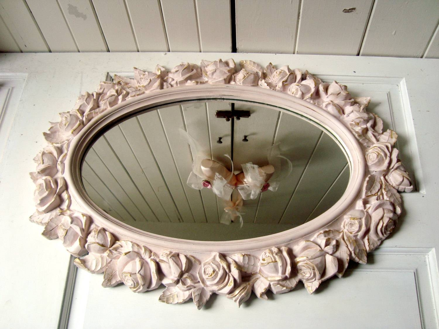 Vintage Rose Mirror Blush Pink And Gold Oval Homco Floral Ornate with Oval Shabby Chic Mirrors (Image 24 of 25)