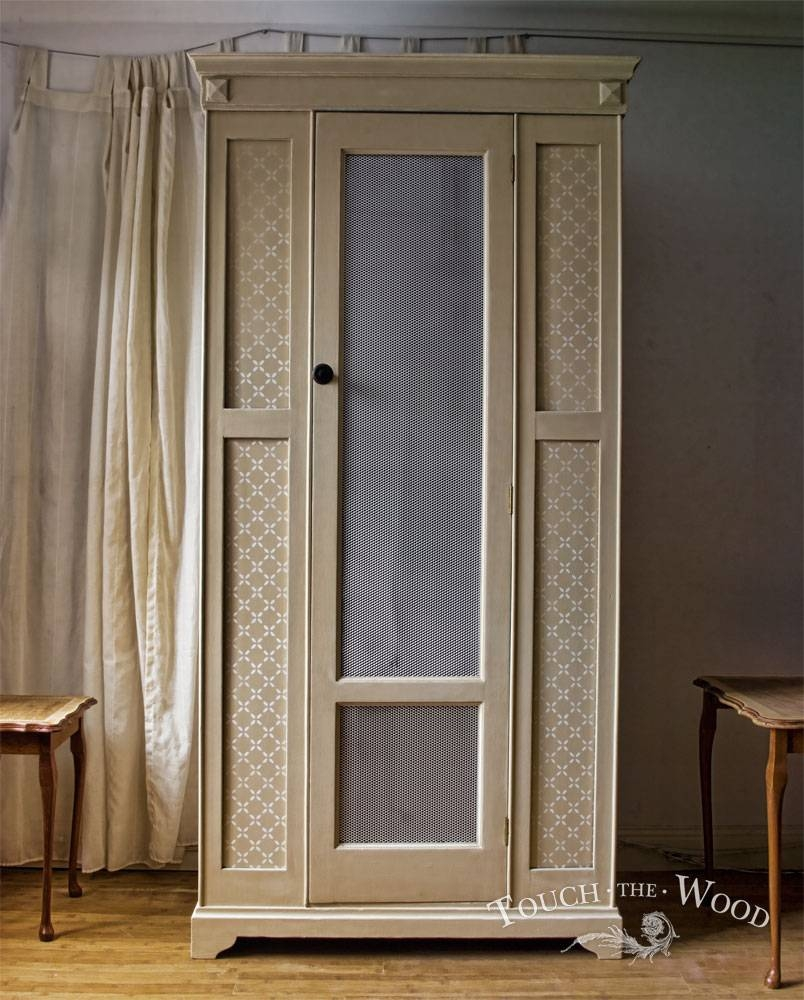 Vintage Shabby Chic Wardrobe With Mesh (No. 01) - Touch The Wood in Chic Wardrobes (Image 13 of 15)