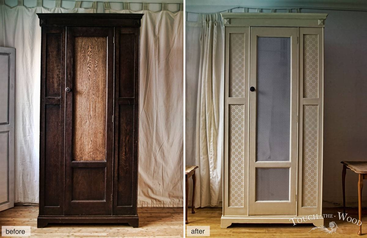 Vintage Shabby Chic Wardrobe With Mesh (No. 01) - Touch The Wood regarding Vintage Shabby Chic Wardrobes (Image 15 of 15)