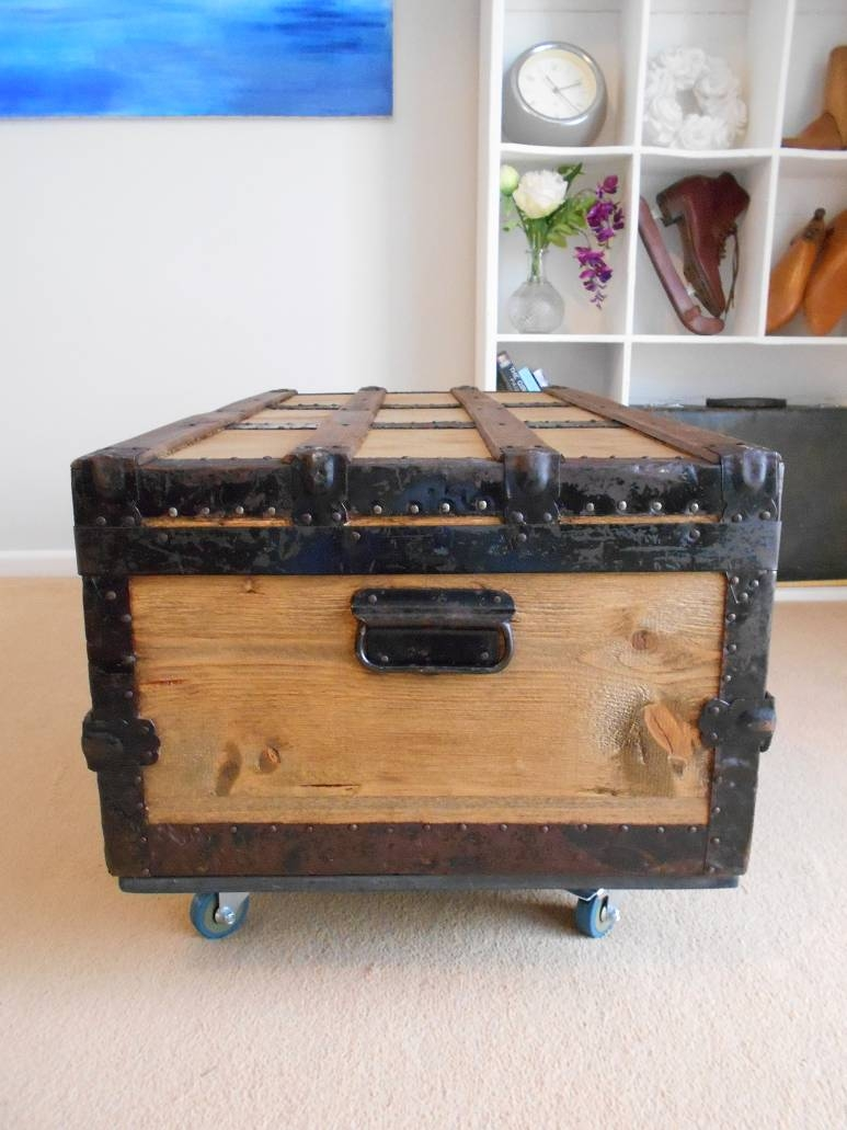 Vintage Steamer Trunk Restored Pine Chest Wooden Coffee Table in Blanket Box Coffee Tables (Image 28 of 30)