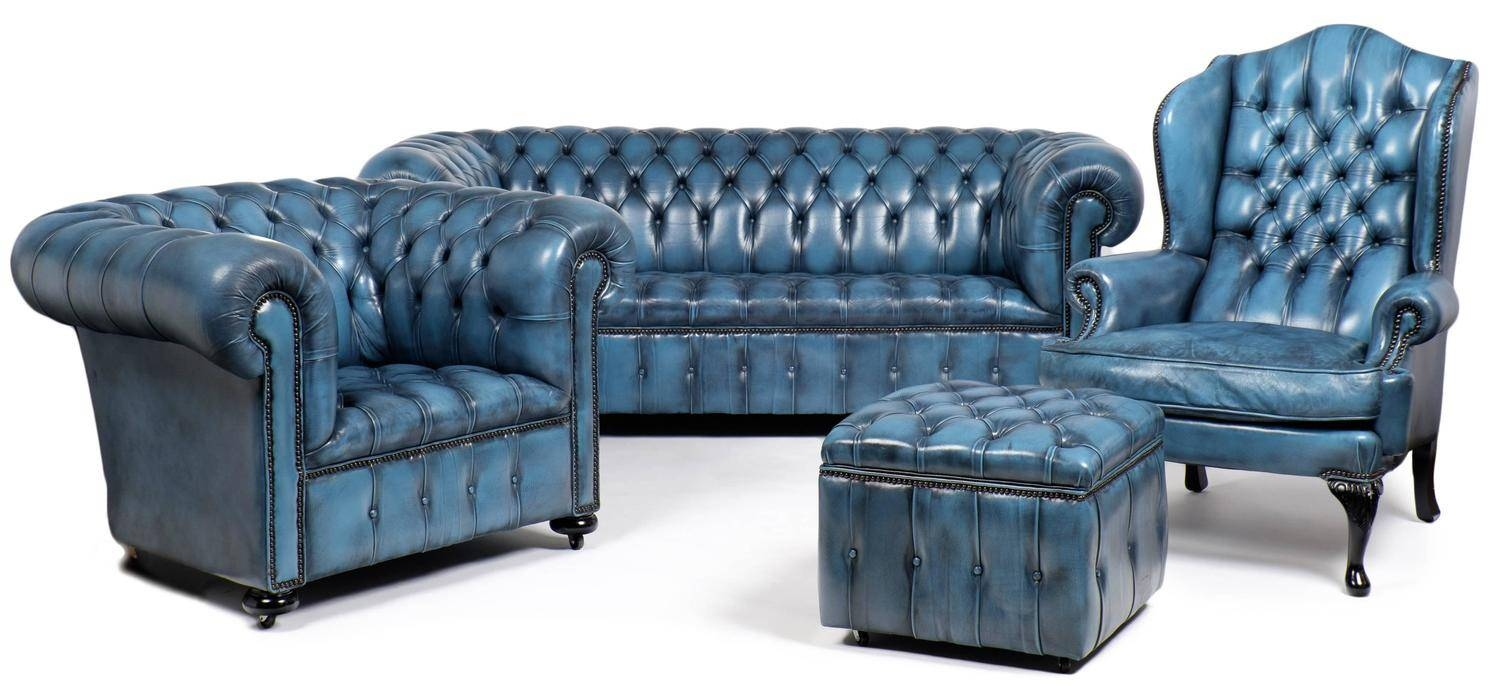 Vintage Steel Blue Leather Chesterfield Club Chair - Jean Marc Fray regarding Vintage Chesterfield Sofas (Image 29 of 30)